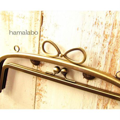 6月1日販売開始!初回限定特価!【HA-1806】親子口金 20.4cm(新リボン×アンティークゴールド)・カン付き