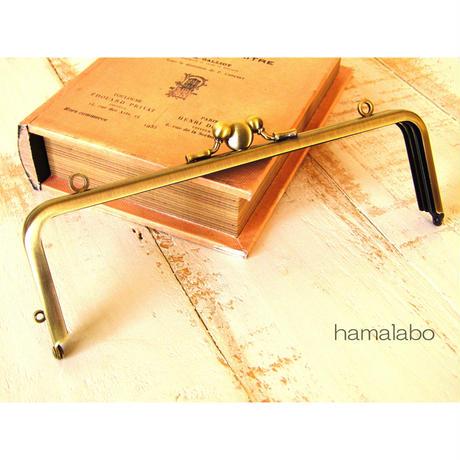 【HA-466】三枚口(二口口金)19cm/(竹の根ひねり×アンティークゴールド)・カン付き