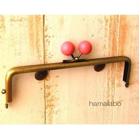 【HA-1484】16.5cm木玉/角型(ピンク色の木玉×アンティークゴールド)