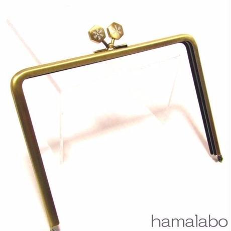 【HA-1474】17.7cm/角型の口金(六花-雪の結晶×アンティークゴールド)