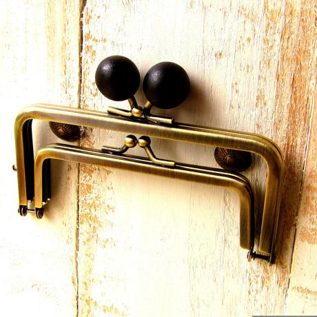 【HA-1232】親子口金 12cm(ちょっと大きな黒色の木玉×アンティークゴールド)