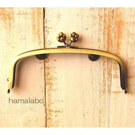 【HA-1558】17cm/くし型の口金/(肉球×アンティークゴールド)