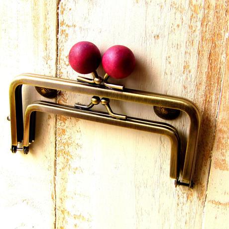 【HA-1231】親子口金 12cm(ちょっと大きな紫色の木玉×アンティークゴールド)