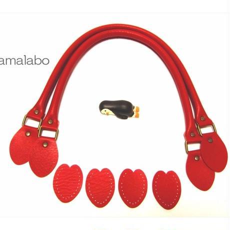 【HA-561】<縫い付けタイプ>手さげ持ち手60cm(赤)-YAK-600
