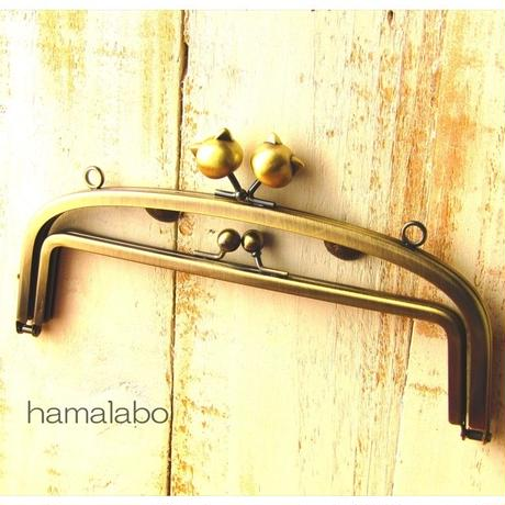 【HA-856】親子口金 20.4cm(大きなネコ玉×アンティークゴールド)・カン付き