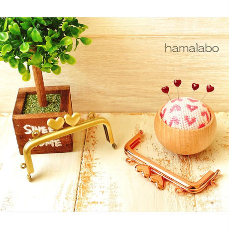 10月1日販売開始!【HA-4001】ハート口金 8.5cm/角型(ローズゴールド-ピンクゴールド)・カン付き