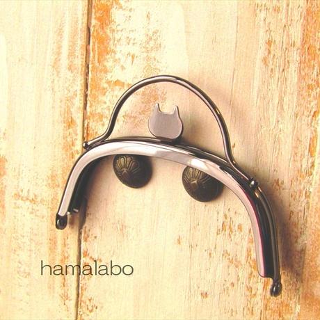 7月11日販売開始!【HA-1581】ネコ型タイプ!持ち手付きの押し口金10cm/くし型(ブラック)