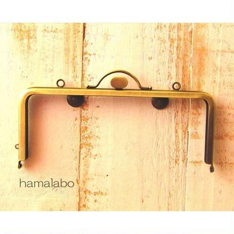 7月9日販売開始!【HA-1574】持ち手付きの押し口金18cm/角型(アンティークゴールド)・カン付き
