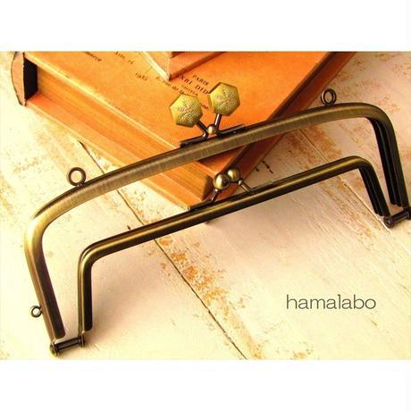 【HA-1476】<廉価版>親子口金 19cm(六花-雪の結晶×アンティークゴールド)・カン付き