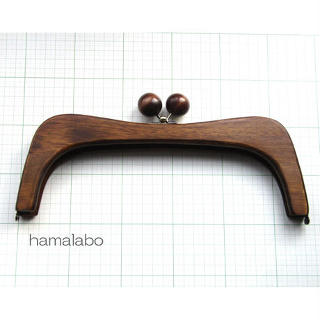5月1日販売開始!【HA-457】27cmくし型の木製口金(茶色の木玉×アンティークゴールド)