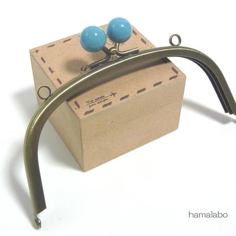 【HA-1419】15cm/くし型(ブルー玉×アンティークゴールド)・カン付き