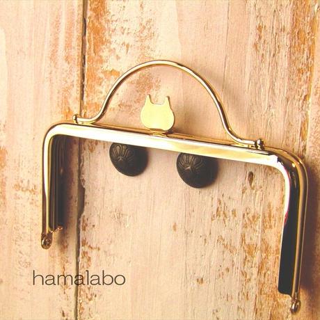8月1日販売開始!【HA-1583】ネコ型タイプ!持ち手付きの押し口金12cm/角型(ゴールド)