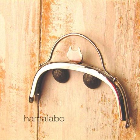 8月1日販売開始!【HA-1580】ネコ型タイプ!持ち手付きの押し口金10cm/くし型(シルバー)