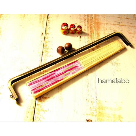 【HA-1648】25.5cm/角型(茶色の木玉×アンティークゴールド)