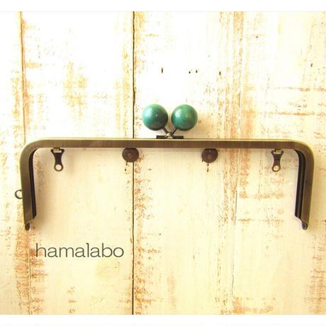 5月18日販売開始!【HA-1831】27cm角型 兼用カン口金(大きな紺色の木玉×アンティークゴールド)+(プラス)