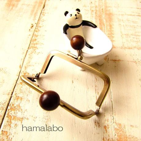 9月19日販売開始!【HA-1895】7.5cm/角型口金(茶色の木玉×アンティークゴールド)