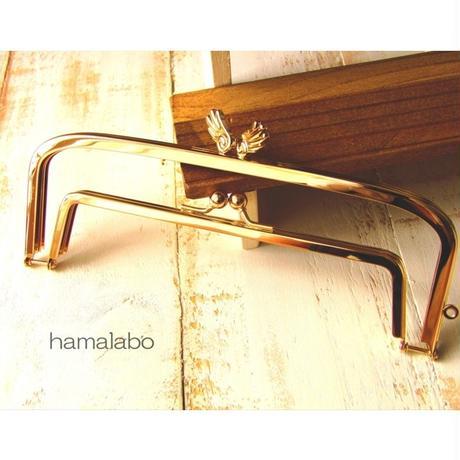 【HA-1527】親子口金 19cm(「天使の羽」×ゴールド)
