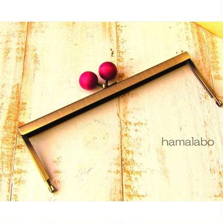 【HA-1538】19cm浮き足口金/ちょっと大きな紫色の木玉(アンティークゴールド)