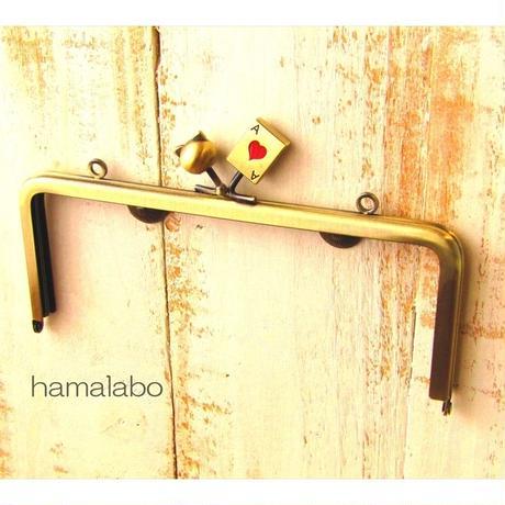 7月3日販売開始!【HA-1616】18cm角型の口金(ネコ玉×トランプ×アンティークゴールド)・カン付き