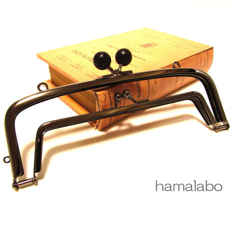 【HA-367】<廉価版>親子口金 19cm(黒色の木玉×ブラック)・カン付き