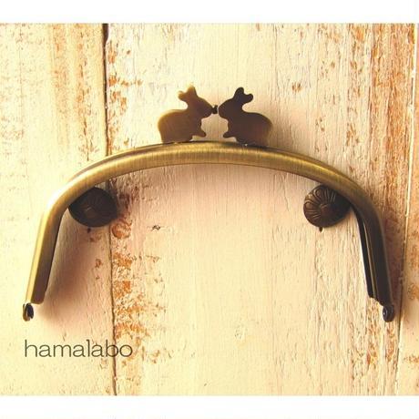 9月11日販売開始!【HA-1656】12.5cm/くし型(ペアウサギ×アンティークゴールド)