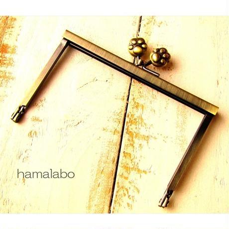 【HA-1501】12cm浮き足口金/肉球(アンティークゴールド)