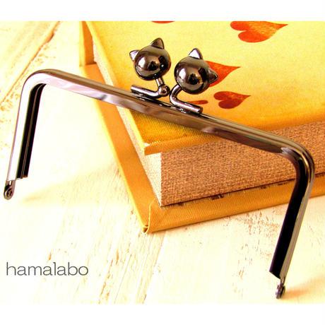 【HA-484】12cm/角型(ネコ玉×ブラック)