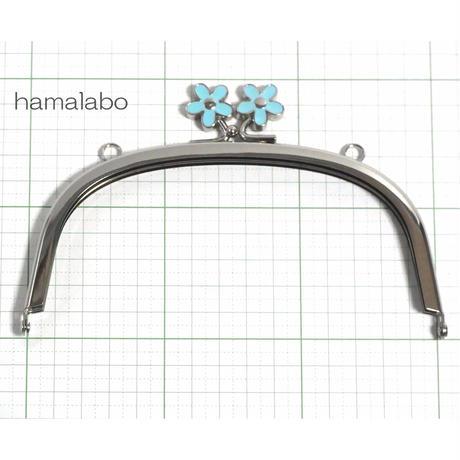 【HA-848】メタルフラワー口金(15cmくし型ブルー×シルバー)・カン付き