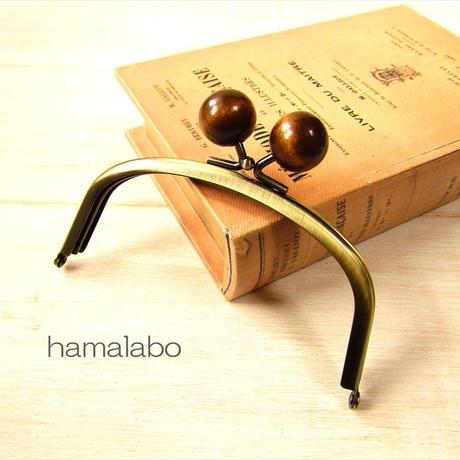 7月19日販売開始!【HA-1872】12.5cmくし型(足長)/(ちょっと大きな茶色の木玉×アンティークゴールド)
