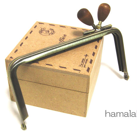 【HA-1210】<横ひねり>12cm/角型の口金(茶色の木オーバル×アンティーク)
