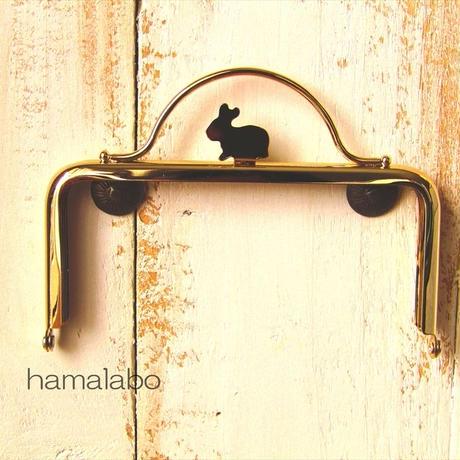 8月1日販売開始!【HA-1611】ウサギ型タイプ!持ち手付きの押し口金12cm/角型(ゴールド)