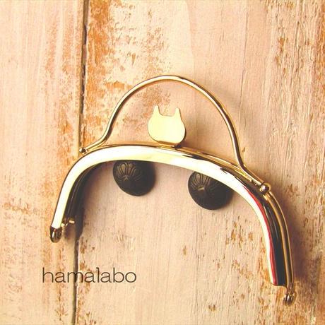 8月1日販売開始!【HA-1579】ネコ型タイプ!持ち手付きの押し口金10cm/くし型(ゴールド)