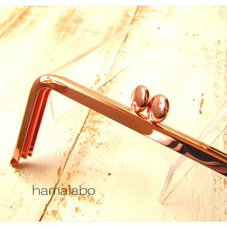 8月20日販売開始!【HA-1908】12cm/角型口金(ローズゴールド-ピンクゴールド)-碁石つまみ-