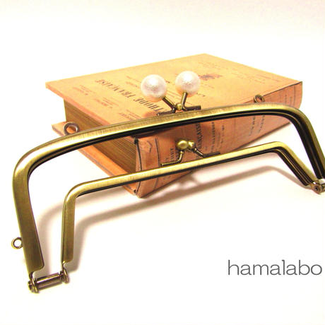【HA-438】<廉価版>親子口金 19cm(コットンパール玉×アンティークゴールド)・カン付き