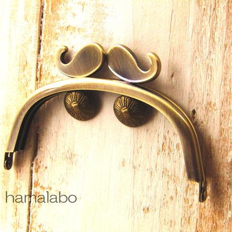 【HA-374】ヒゲ口金/10cmくし型(アンティークゴールド)