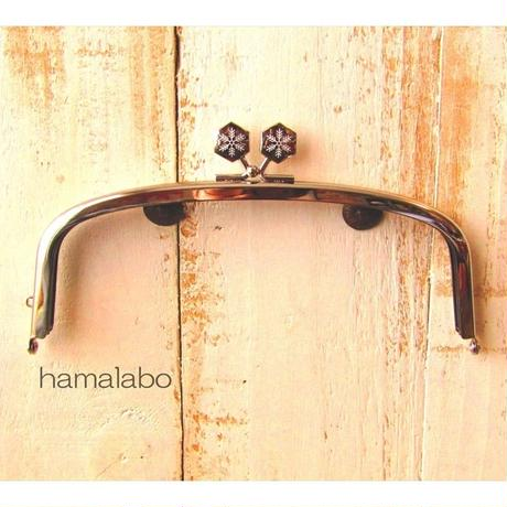 【HA-1561】17cm/くし型の口金/(六花-雪の結晶×シルバー)