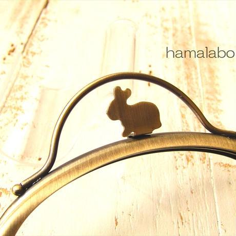 7月19日販売開始!限定販売!【HA-1886】12.5cmくし型(足長)/(ウサギ押し口金×アンティークゴールド)