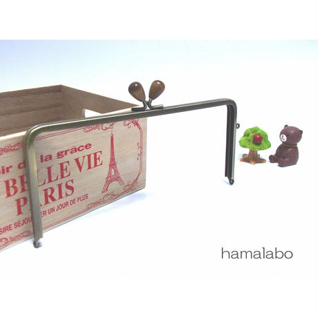 【HA-1298】22cm/角型(茶色の木オーバル×アンティークゴールド)