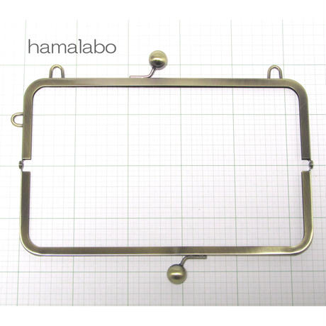 【HA-106】27cm大玉口金/角型アンティークゴールド/カン付き+(プラス)