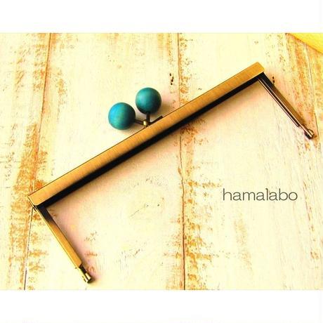 5月12日販売開始!【HA-1537】19cm浮き足口金/ちょっと大きな紺色の木玉(アンティークゴールド)