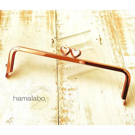 9月19日販売開始!【HA-1923】ハート口金 16.5cm/角型(ローズゴールド-ピンクゴールド)