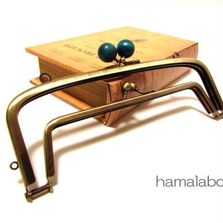 【HA-352】<廉価版>親子口金 19cm(紺色の木玉×アンティークゴールド)・カン付き