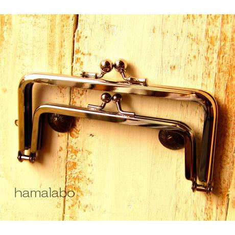 【HA-1371】親子口金12cm(竹の根ひねり×シルバー)