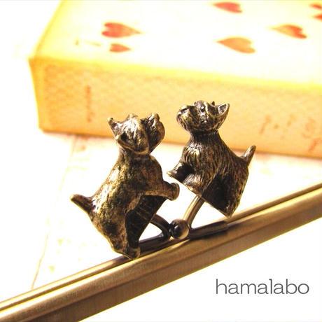 7月25日販売開始!【HA-1907】犬(イヌ)の口金18cm/角型(アンティークゴールド)・カン付き
