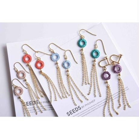 チェーンタッセルピアス・イヤリング(4色) / Long Chain Tassel Pierced Earring