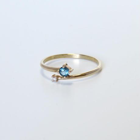 ロンドンブルートパーズ / ダイヤモンド / K10 リング