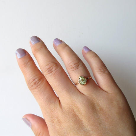 ミントガーネット /ダイヤモンド/ K10 リング UVカラーチェンジタイプ