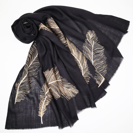 Plume Nova  (Feathers embroideries / Black × Gold)  ウール50%/シルク50% SS-18/76A