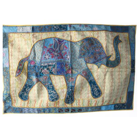 カンバディアウォールハンギング Elephant WH-20-002 (Yellow x Blue) 通常価格¥29,700(税込)を特別価格で!