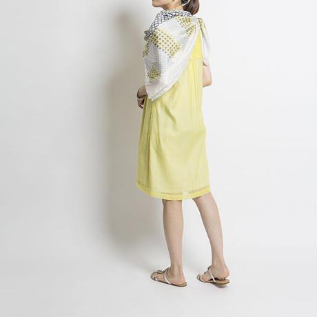 コットン x シルク ドレス Sophia ライム ソリッド   RASA